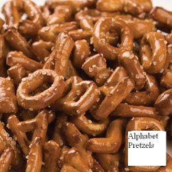 Wallykazam Party Ideas-alphabet shaped pretzels are a fun and healthy snack.