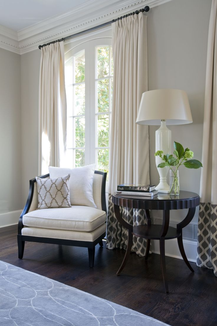 Love the wall color, the drapes and the crown moulding in this room! ©Kristin Peake Interiors