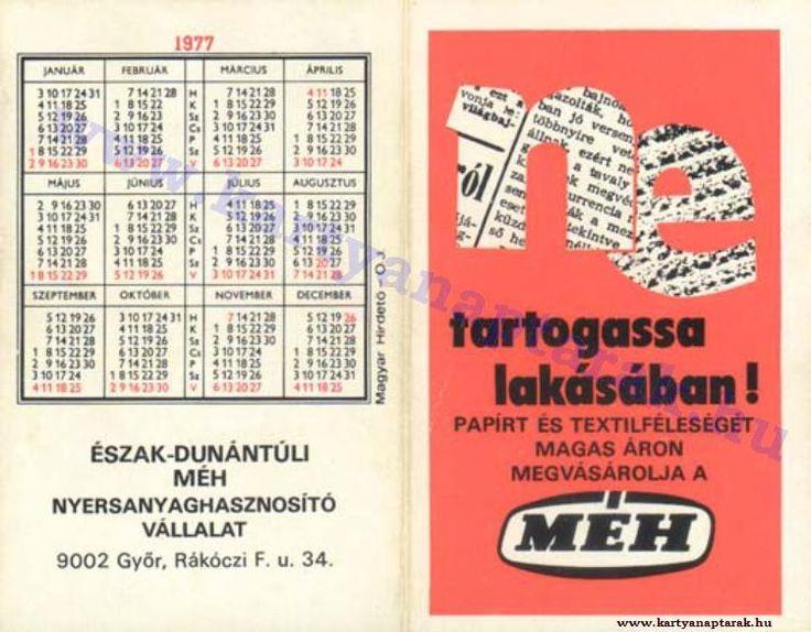1977 - 1977_0714 - Régi magyar kártyanaptárak
