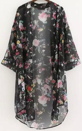 Black Half Sleeve Floral Chiffon Kimono from Augustine's. Shop more products from Augustine's on Wanelo.