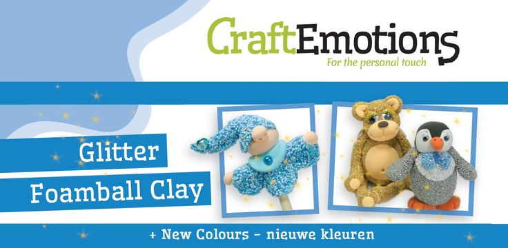 CraftEmotions glitter foamball clay now available in glitter gold, glitter silver, glitter red, glitter green.