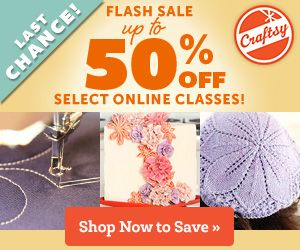 Craftsy gave me a free course and my readers can get a course for 50% off! tonight until midnight! Woo Hoo! Which course should I choose?