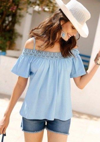 Tričko s čipkovaným lodičkovým výstrihom #ModinoSK #offshoulders #blue #pastels