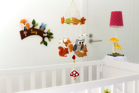 Woodland creatures baby mobile with butterflies and toadstools - neutral colours - handmade. Available now, ready to ship. $89