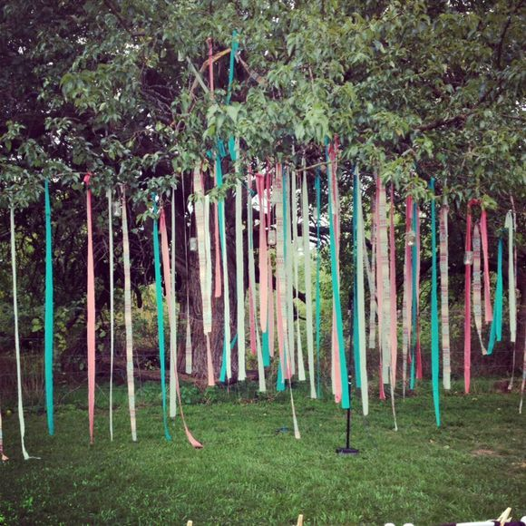 Wedding decoration ribbon garlands from tree outdoor