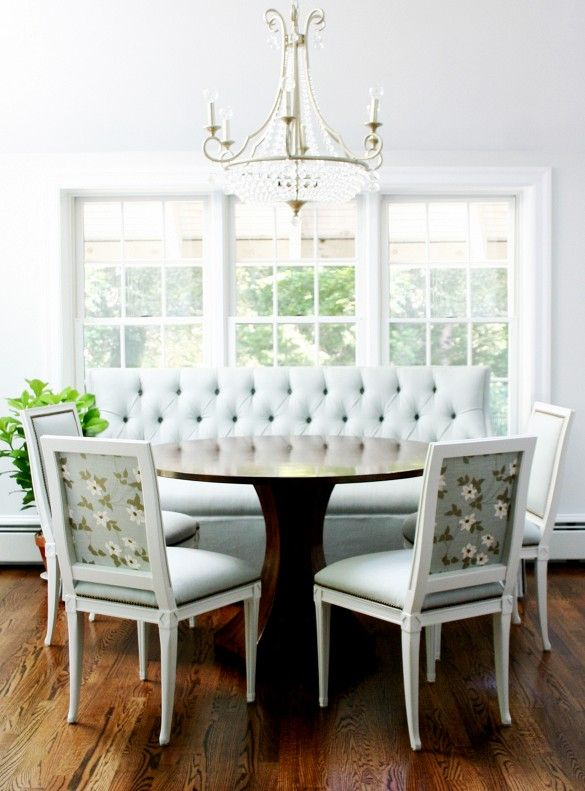 I really like the look of this for my breakfast area.  I think it is definitely doable.  I have the table and chairs that need to be re-purposed and I need to find or make a bench.
