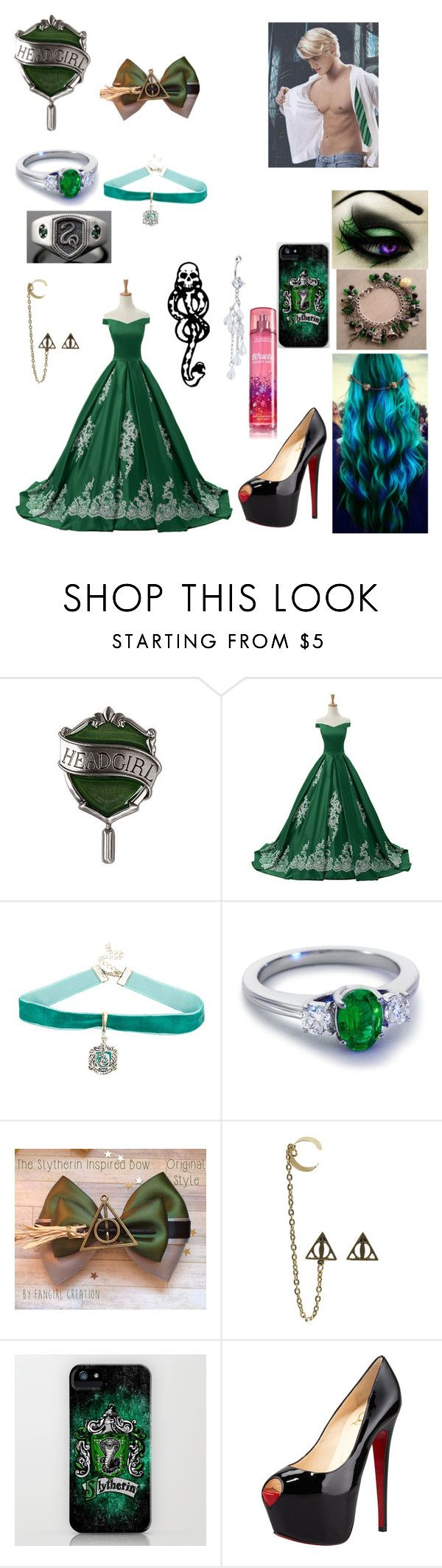 """Slytherin ball"" by fly-with-angles ❤ liked on Polyvore featuring Reception, Blue Nile, mark. and Christian Louboutin"