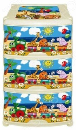 Violet «Паровозик»  — 1904р. ----------------------------------- Комод Violet Паровозик это незаменимый атрибут детской комнаты. Три выдвижных вместительных ящика, удобные ручки и устойчивые ножки обеспечат комфортное хранение одежды, белья, игрушек и различных аксессуаров вашего малыша. Модель изготовлена из прочного, качественного пластика, поэтому прослужит долго. Максимальная нагрузка на 1 ящик составляет 12 кг, а общая на весь комод 36 кг. Украшенный дизайнерским принтом комод Violet…