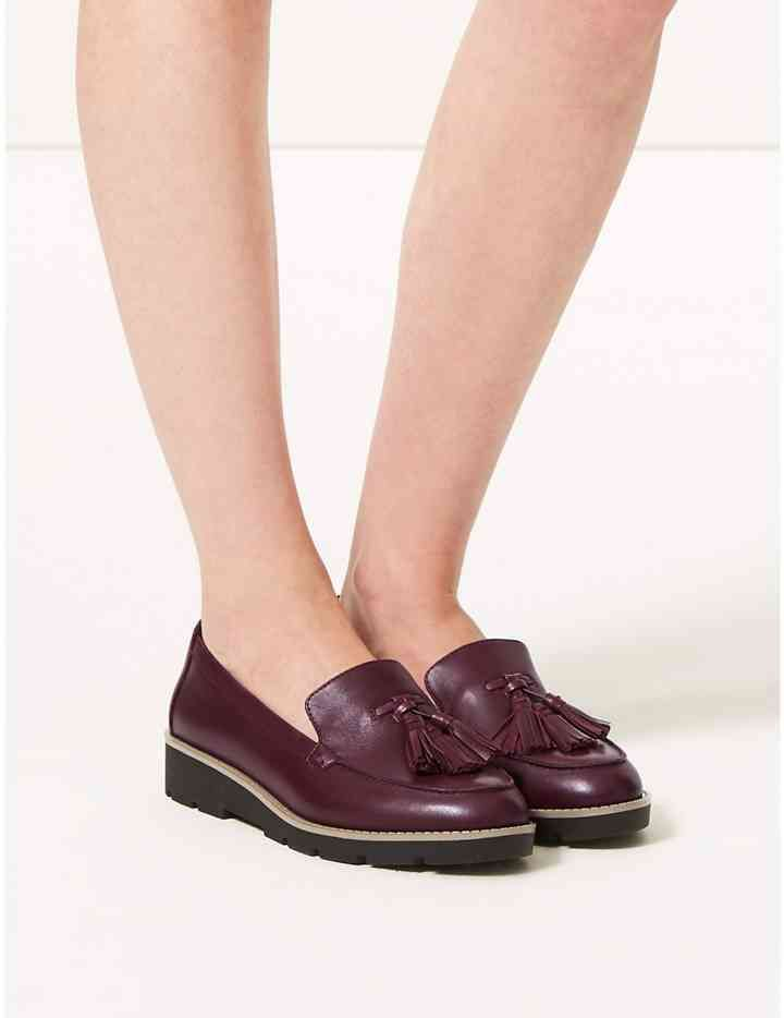 bed172eb06d3 Wide Fit Leather Tassel Loafers