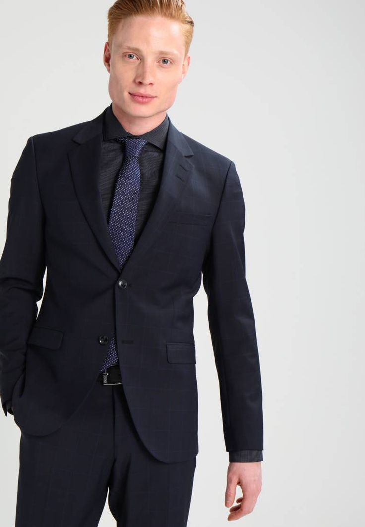 """Tiger of Sweden. LAMONTE - Suit - blue function. Outer fabric material:52% wool, 44% polyester, 4% spandex. Pattern:Checked. Care instructions:Dry clean only. Sleeve length:long,26.5 """" (Size 40). Back width:19.0 """" (Size 40). jacket length:30.0 """" ..."""