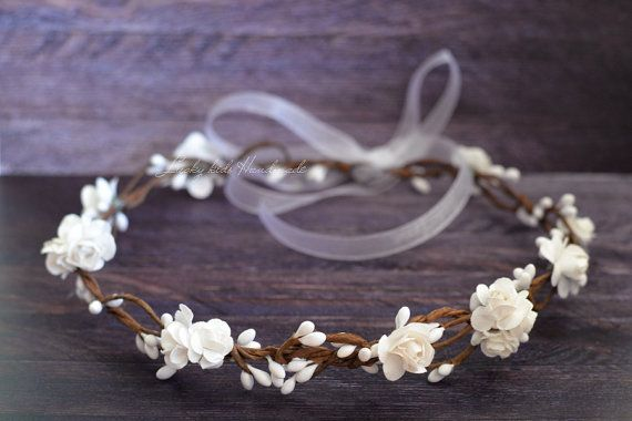 Flower crown wedding Flower girl wreath White by LuckyKidsHandmade