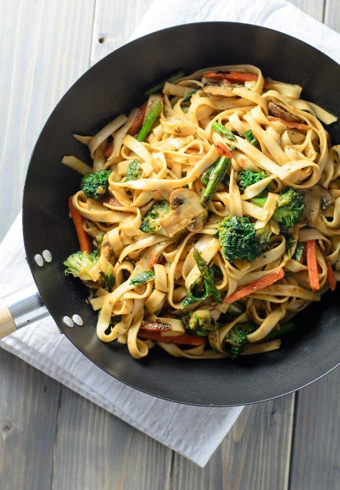 Quick and Easy Lo Mein Noodles with mushrooms, broccoli, asparagus, carrots and a ginger-mint sauce.