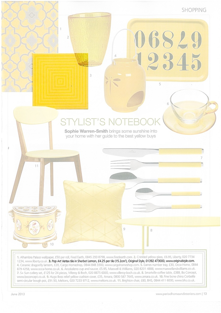 Period Homes & Interiors - June 2013. Shopping pages featuring yellow products including the Vertex tile in Sherbet Lemon from the Pop Art collection.