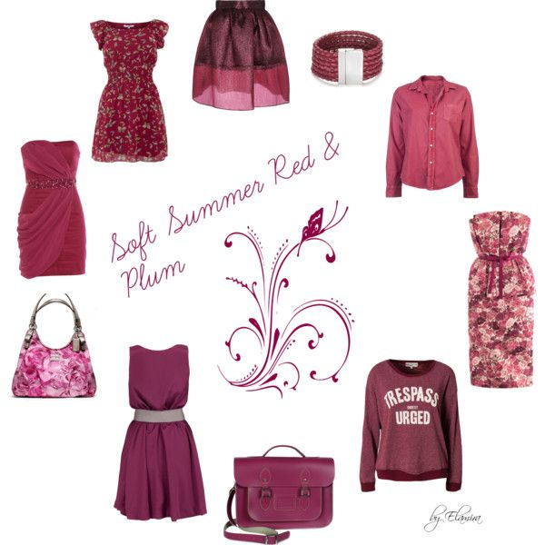 """Soft Summer red and plum"" by sabira-amira on Polyvore"