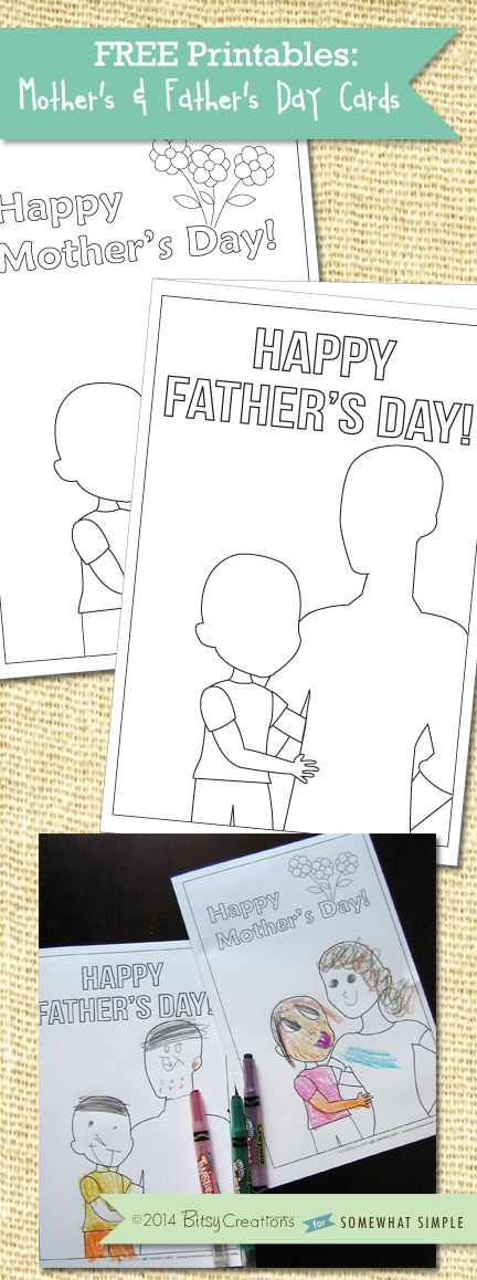 Kid-Friendly Mother's Day and Father's Day Cards Free Printables by BitsyCreations for SomewhatSimple