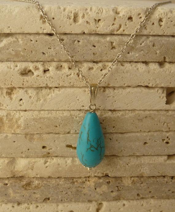 Turquoise pendant / Natural stone necklace / by ShawlsandtheCity, $12.00