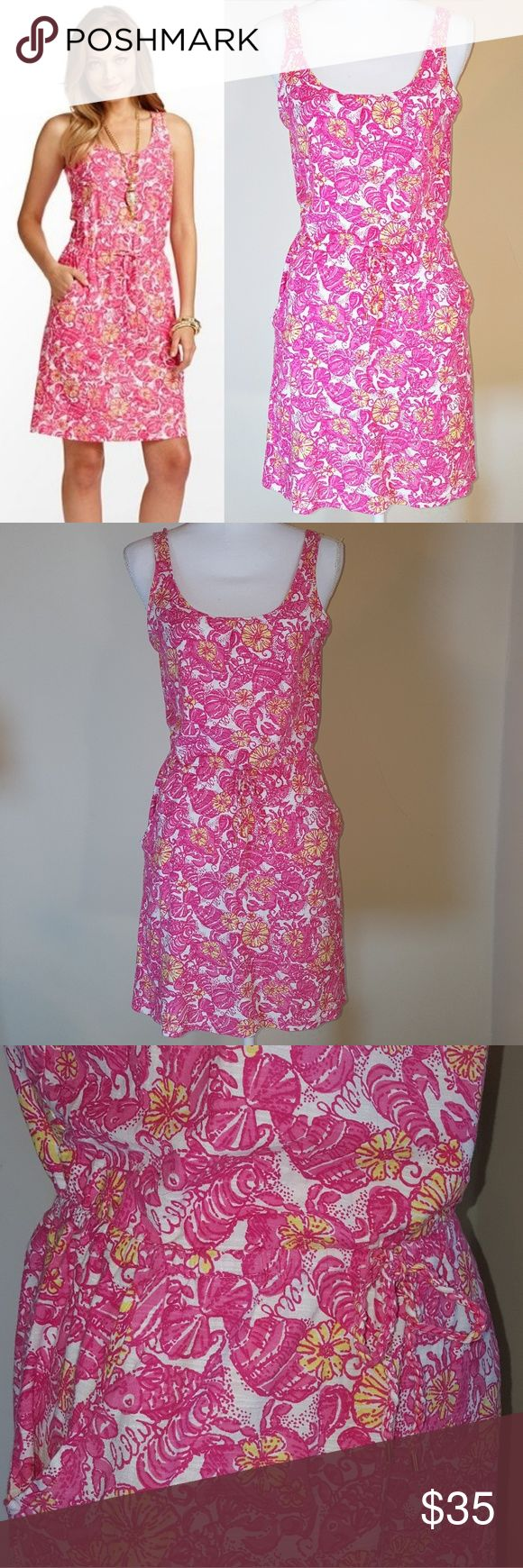 "Lilly Pulitzer Kori Dress - ""Chum Bucket"" From Lilly Pulitzer, ""It's all about cut and color! Not your blonde locks, cutie... that easy throw-on cut of that dress! The c-o-l-o-r that brings a sparkle to your eye. The Kori has that IT factor, making all of your other summer sundresses jealous.  Tank dress with faux drawstring at waist. 18"" from natural waist to hem. Machine wash cold. 40/1 Slubby Cotton Jersey (100% Cotton). Imported.  Style #:?32564"" Also has cute pockets. Sold out online…"