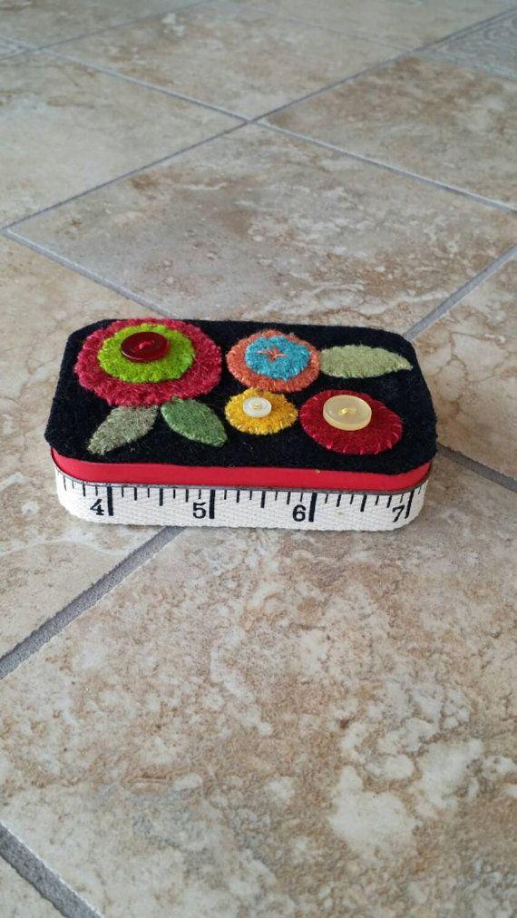 Wool Appliqué Pin Tin Keepsake Tin Handmade