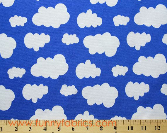 White clouds under cobalt blue sky by JNY Design  by Funnyfabrix