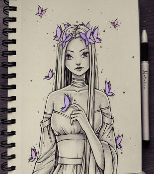 Girl with Butterflies By~ Natalico@Deviantart.com