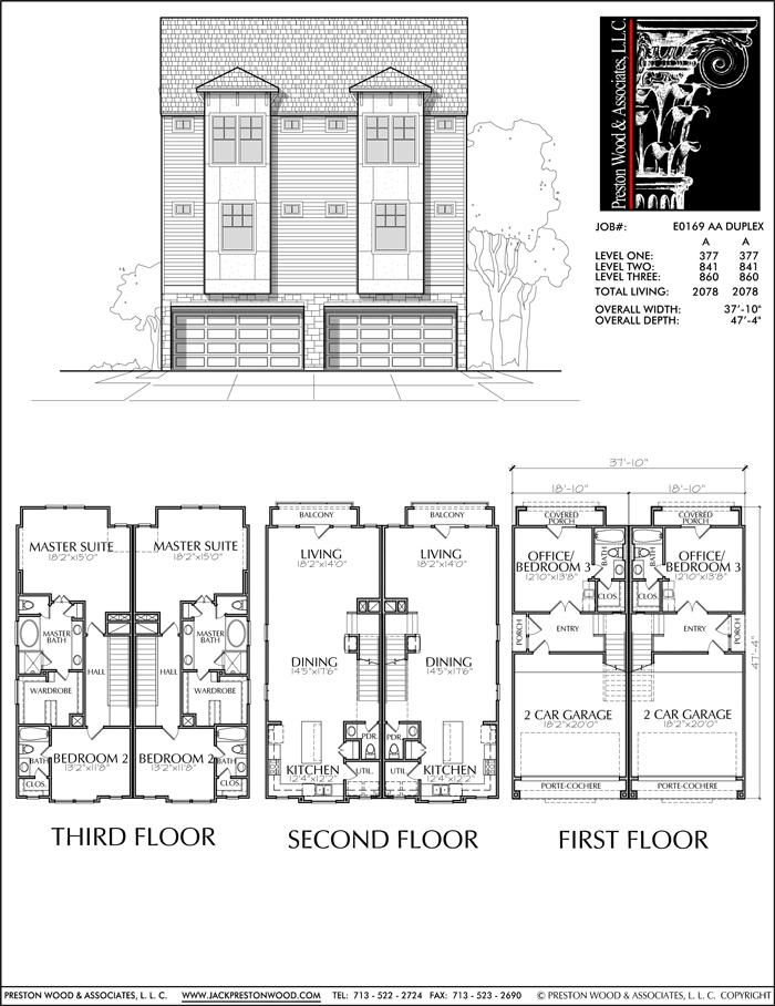Three Story Duplex Townhouse Plan E0169 Aa Town House Floor Plan How To Plan Narrow Lot House Plans