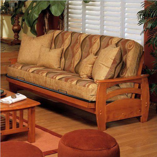 Full Oak Wood Futon Frame Bed Sofa.