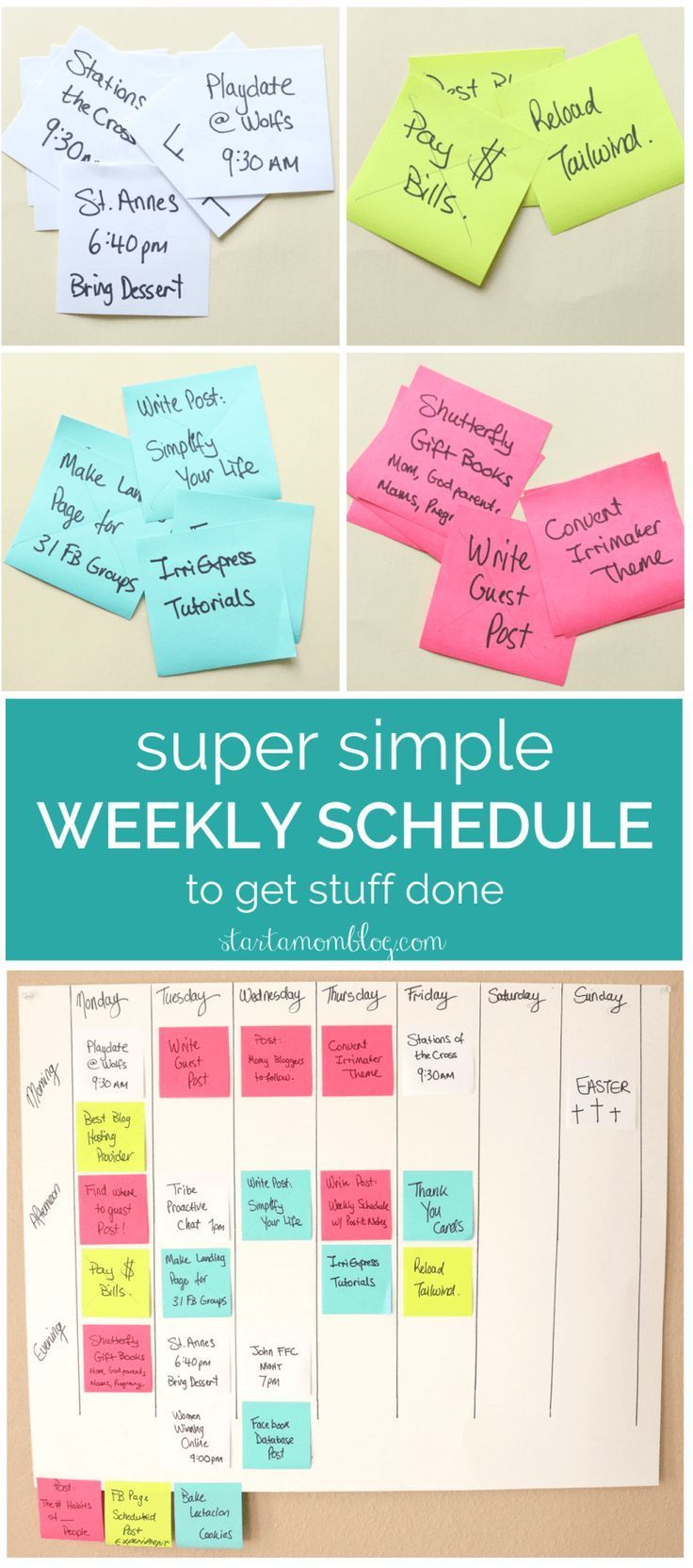 Super Simple Weekly Schedule to Get Stuff Done with Post-it Notes. This is how I Organize and Schedule my Life with Post it notes - Super Simple Hack!