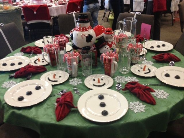 Easy Christmas Table Setting simple White Plates to make Snowman with Candies for Button and Eyes and Little Carved carrots for Noses ;)