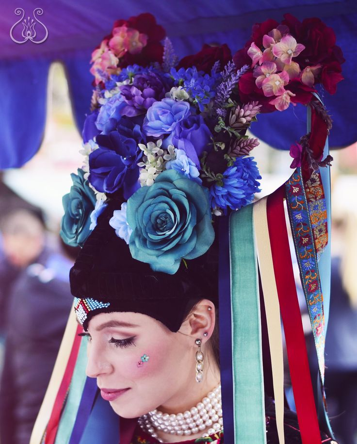 "Folk headdress for young single girl called ""parta""by me.. inspired by many regions of Slovakia. #parta #slovakia #folklore #bycajova #bridal #folk #headdress #gerlachov #tekov"