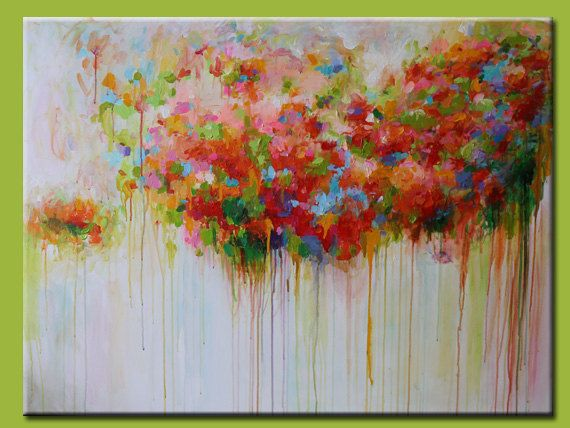 ORIGINAL abstract painting ,XL large abstract painting,colorful room deco, Acrylic painting,cherry blossom ,flower painting