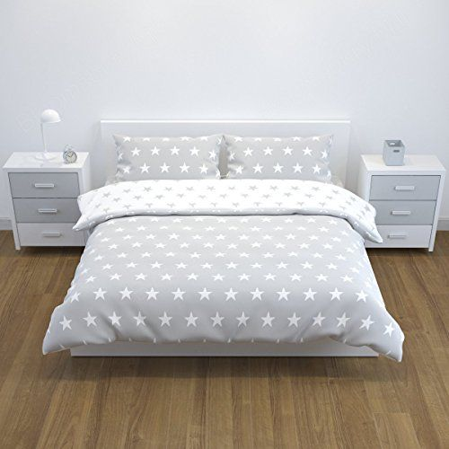 From 16.99 Bloomsbury Mill - Grey & White Stars - Reversible Bedding Set - Double Duvet Cover And 2 Pillowcases