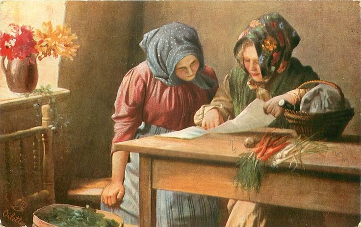 DER LIEBESBRIEF two country women sit at kitchen table sharing newspaper