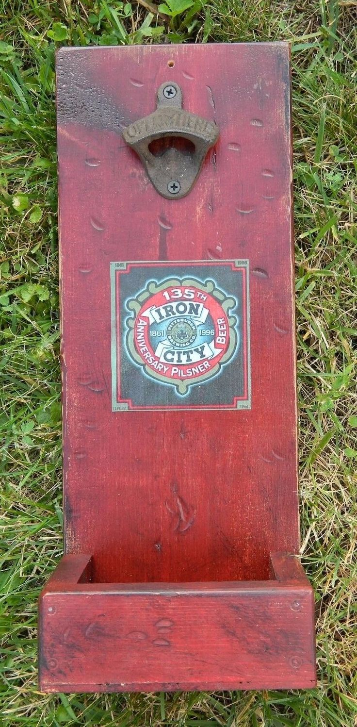 21 best engraved bottle openers images on pinterest bottle rustic wood wall mounted bottle opener with cap catcher iron city beer red ebay amipublicfo Image collections