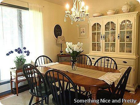 French Country Dining Room, White Dining Room Table And Hutch