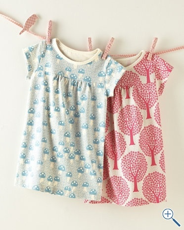 Very cute organic cotton shift dress for little kids. I love the mushrooms, particularly, but the trees are nice too!