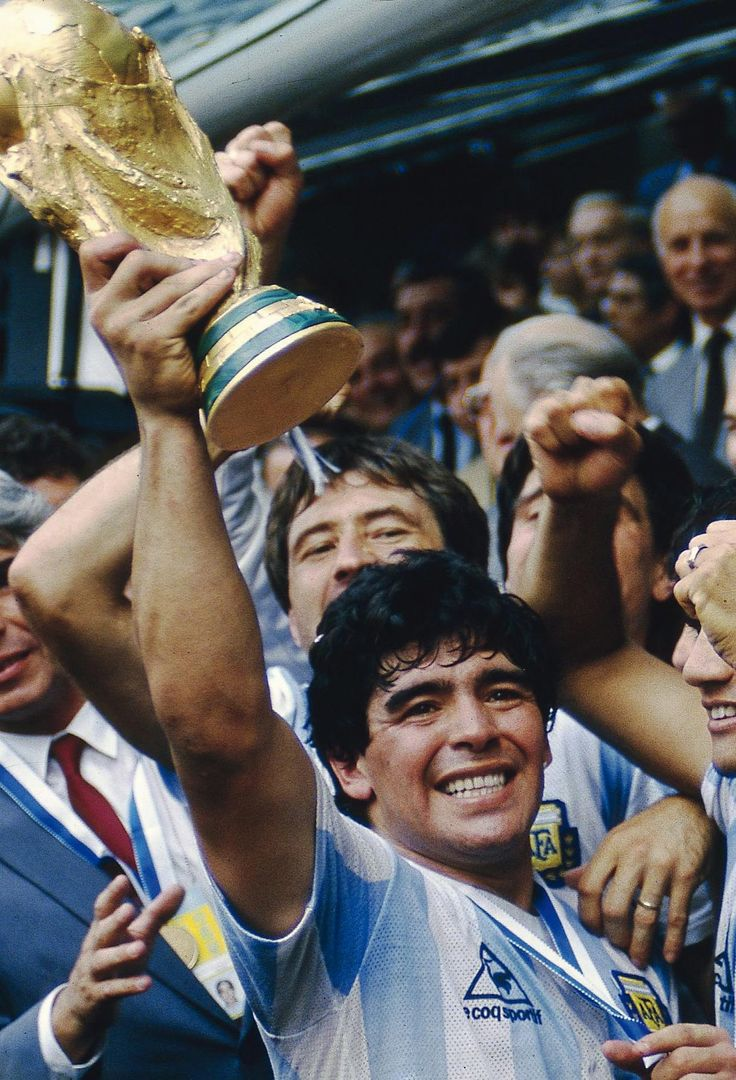 Diego Maradona holds aloft the World Cup trophy, 29 June 1986. Source: Hublot