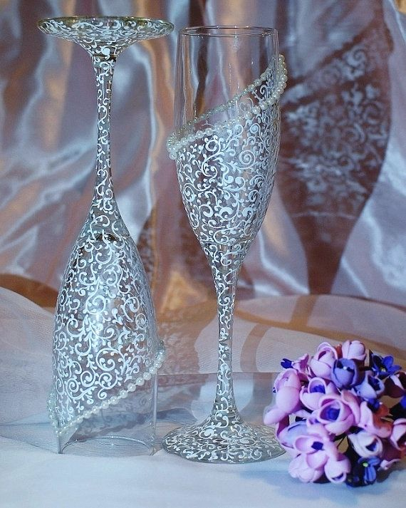 Bride and Groom Champagne glasses Wedding by WeddingbyAnn, $45.00