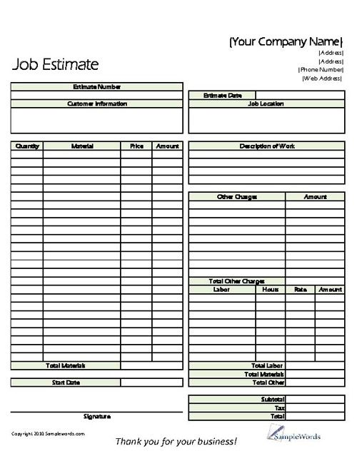 Printable Job Estimate Forms  Job Estimate Free Office Form
