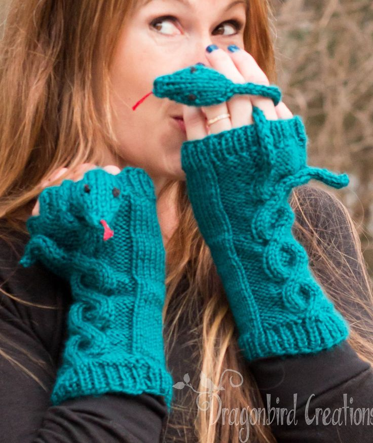 Knitting Pattern for Hissy Fit Snake Mitts - How fun are these mitts with cable snake. These clever cable fingerless mitts from Dragonbird Creations come in two sizes.