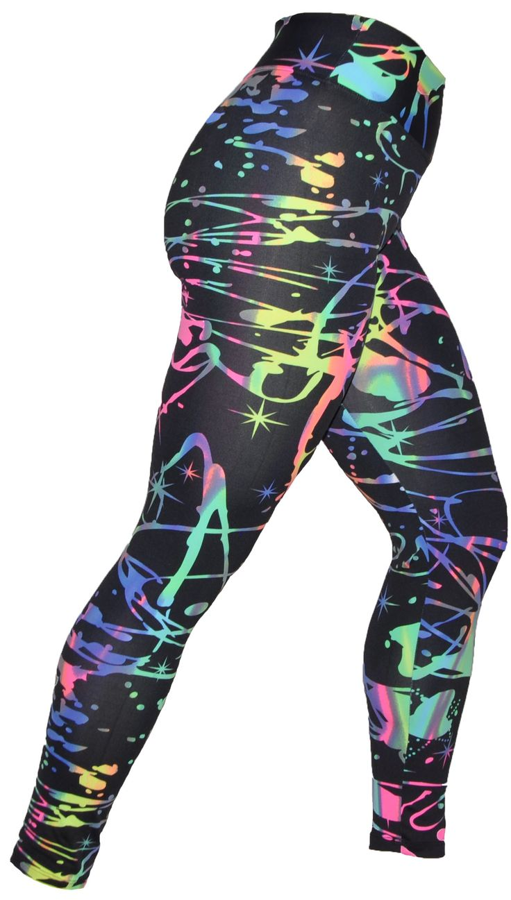 These funky Neon Paint Splash Print leggings are so much fun to wear Leggings are so comfortable to wear and give you flexibility and style, Leggings are the Perfect combination of bold prints and soft microfiber fabric that makes it funky and comfy.  Suplex Light Material. #gymwear