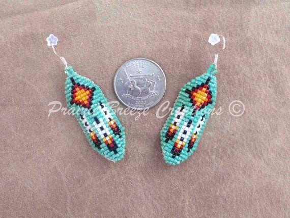 Native American Beaded 'Turquoise Sun' - Curved Beadwork - Beaded Earrings by PrairieBreeze