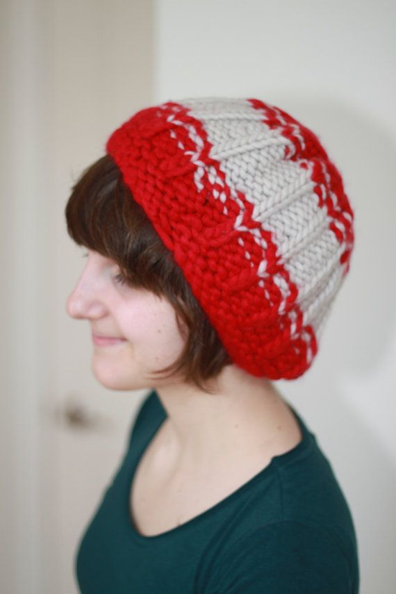 Red and White beret style hat  Reversible hat  by SoppyKnitsStuff
