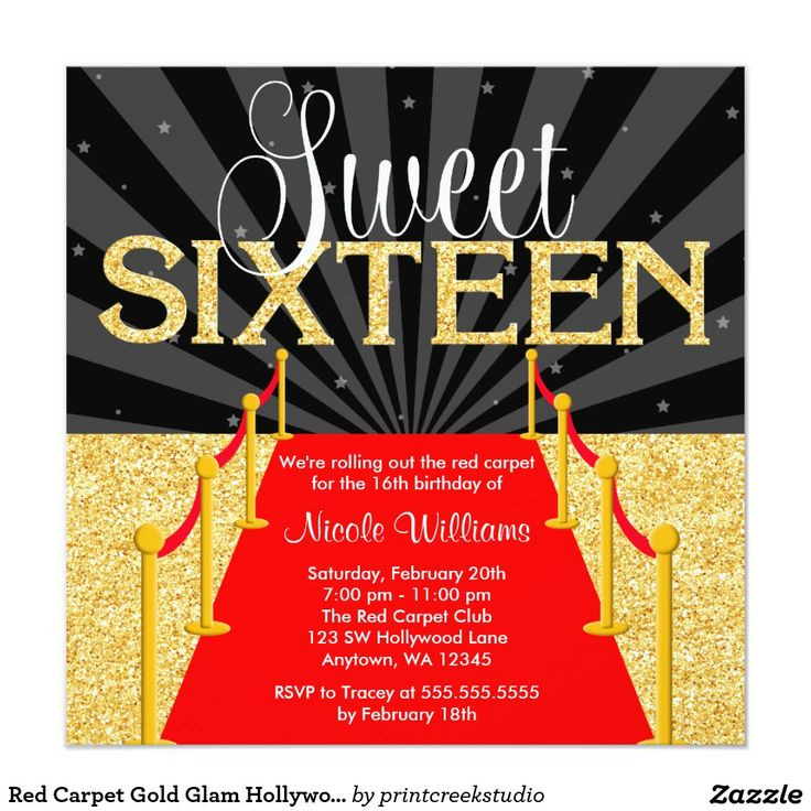 Red Carpet Gold Glam Hollywood Sweet 16 Birthday Invitations