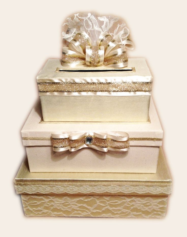 Gold Wedding Card Box Holder 3 Tier Stacked Lace Handmade Alltstcardbo Check Out This Great Product