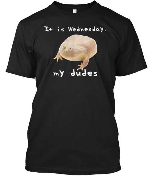 It Is Wednesday My Dudes Frog Meme  Black T-Shirt Front