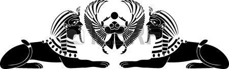 sphinx égyptien scarabée noir au pochoir Banque d'images - 14732591