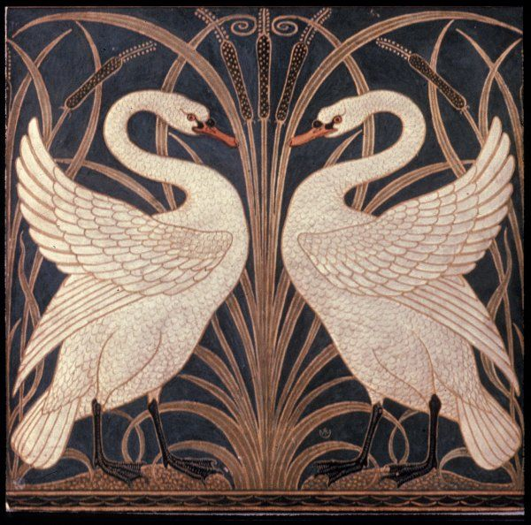 'Swan, Rush and Iris', design for a portion of wallpaper dado by Walter Crane for Jeffrey & Co., 1877.