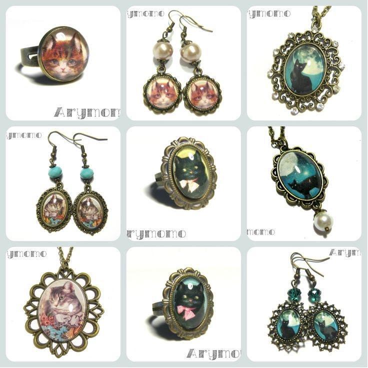 Pretty jewelry with cats http://arymomo.dawanda.com