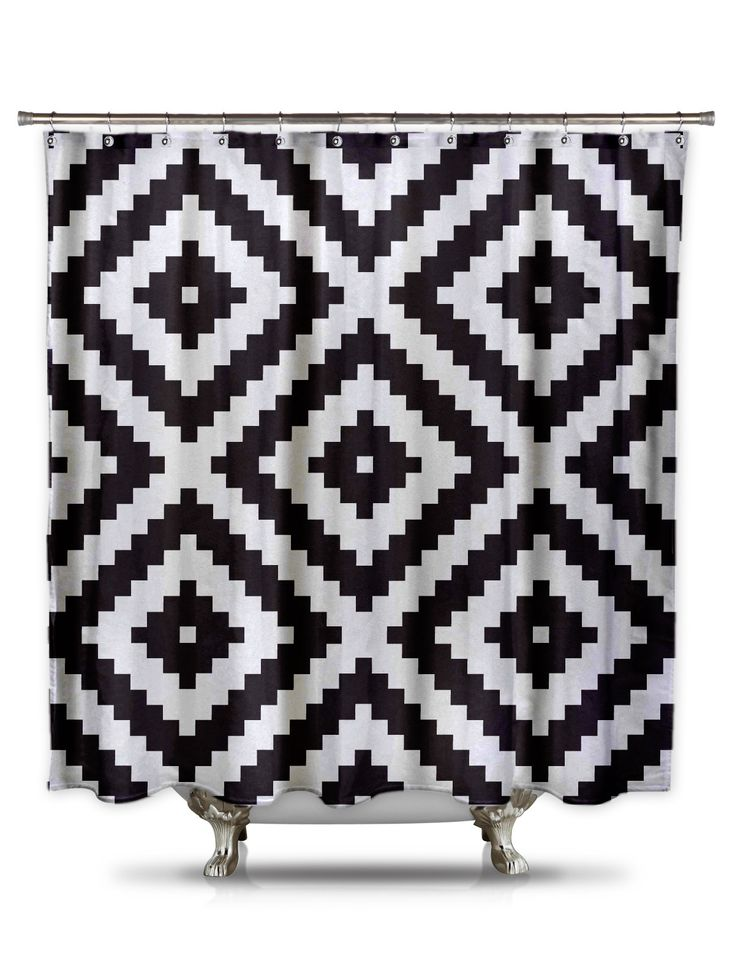This bold black and white pattern has been seen everywhere...rugs, pillows, and now it is time for it to be on a shower curtain! All of your guests will love the eye-catching pattern this shower curta