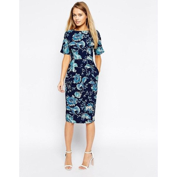 ASOS Wiggle Dress in Blue Paisley Print (94 BRL) ❤ liked on Polyvore featuring dresses, multi, white dress, tall dresses, fitted dresses, blue paisley dress and white wiggle dress